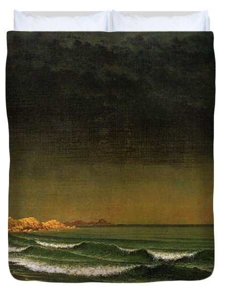 Approaching Storm Near Newport Beach Duvet Cover by Martin Heade