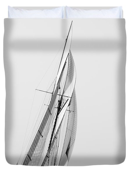 A Tall Ship In Mediterranean Water Approaching To Lighthouse Of Isla Del Aire - Menorca Duvet Cover