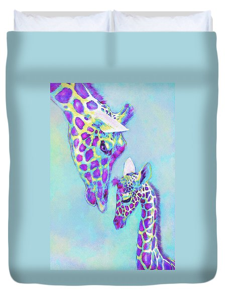 Duvet Cover featuring the digital art Aqua And Purple Loving Giraffes by Jane Schnetlage