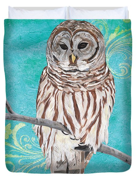 Aqua Barred Owl Duvet Cover