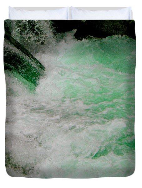 Aqua Falls Duvet Cover by Rich Collins