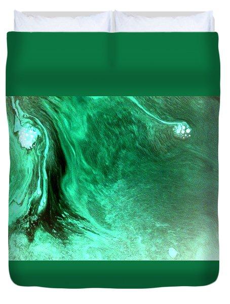 Duvet Cover featuring the mixed media Aqua Tree by Salman Ravish