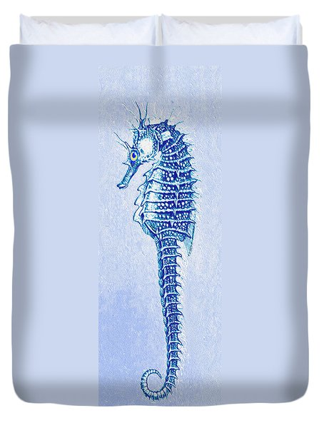 Duvet Cover featuring the digital art Aqua Seahorse- Left by Jane Schnetlage