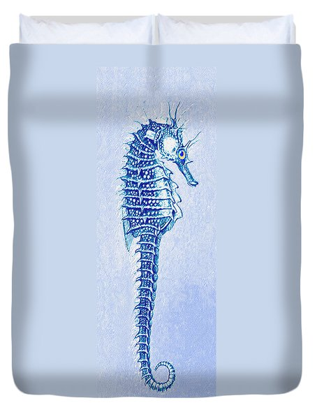 Duvet Cover featuring the digital art Aqua Seahorse- Right Facing by Jane Schnetlage