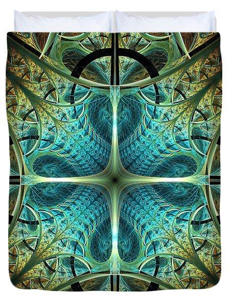 Aqua Shield Duvet Cover by Anastasiya Malakhova