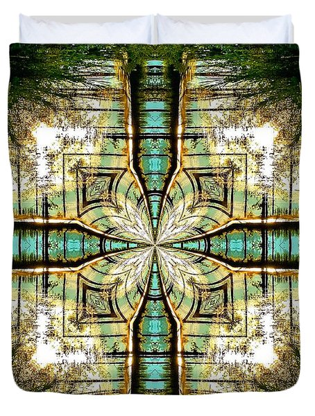 Kaleidoscope Aqua Sunrise Duvet Cover