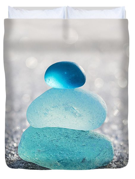 Aquamarine Ice Light Duvet Cover by Barbara McMahon