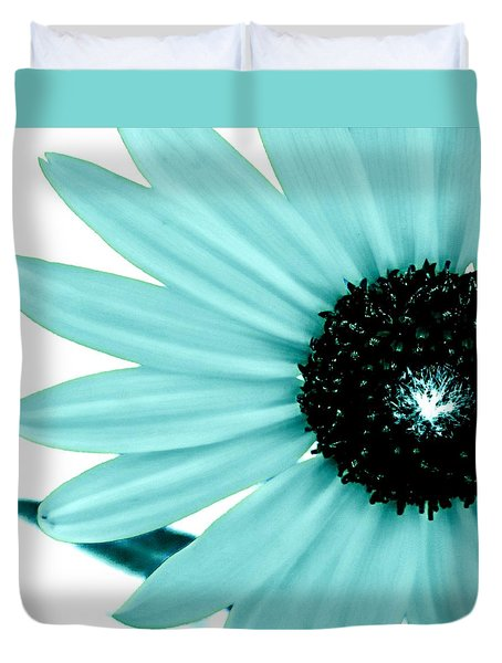 Aquamarine Sunflower Burst Duvet Cover by Michelle Frizzell-Thompson