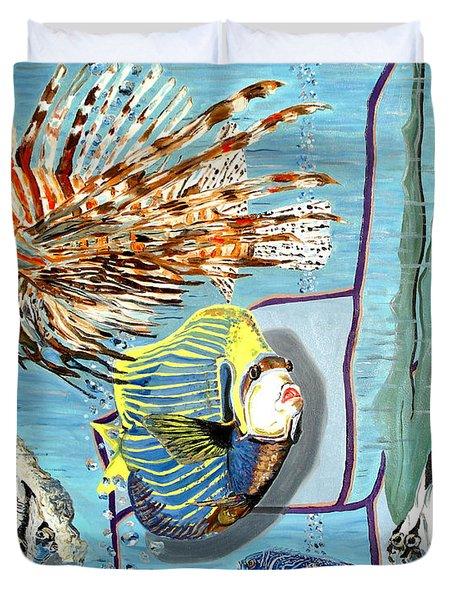Duvet Cover featuring the painting Aquarium by Daniel Janda