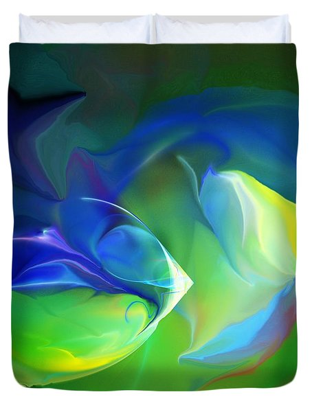 Duvet Cover featuring the digital art Aquatic Illusions by David Lane
