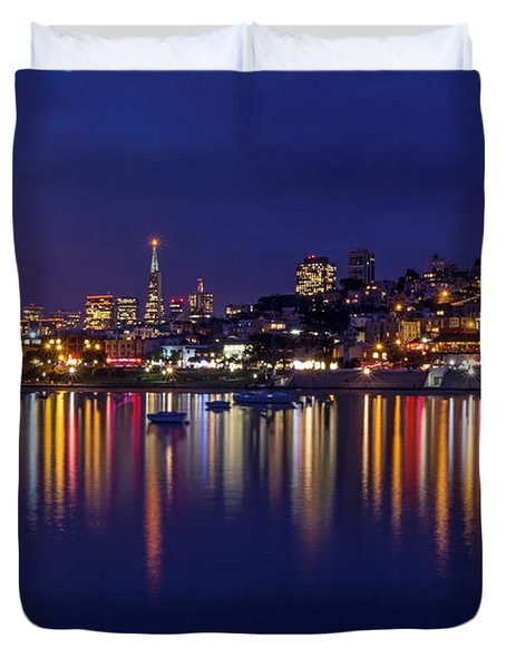 Duvet Cover featuring the photograph Aquatic Park Blue Hour Wide View by Kate Brown