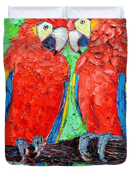 Ara Love A Moment Of Tenderness Between Two Scarlet Macaw Parrots Duvet Cover by Ana Maria Edulescu