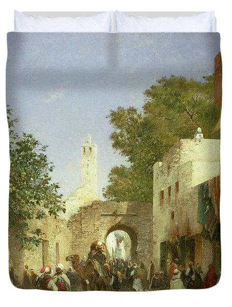 Arab Street Scene Duvet Cover by Honore Boze