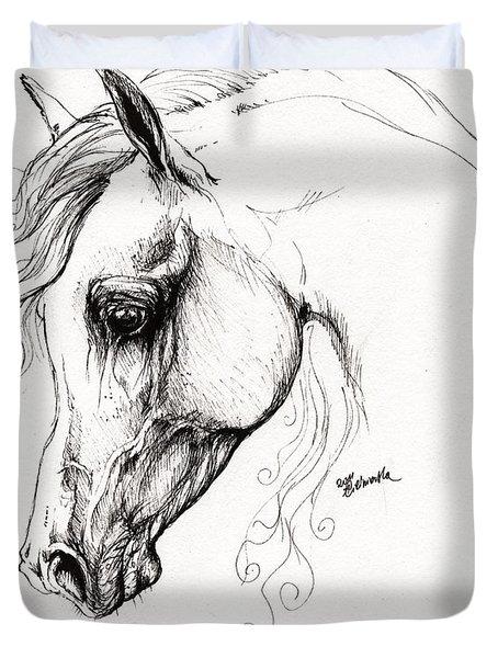 Arabian Horse Drawing 15 Duvet Cover by Angel  Tarantella