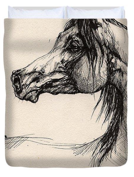 Arabian Horse Drawing 26 Duvet Cover by Angel  Tarantella