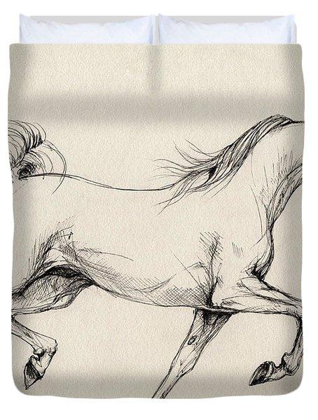 Arabian Horse Drawing 31 Duvet Cover by Angel  Tarantella