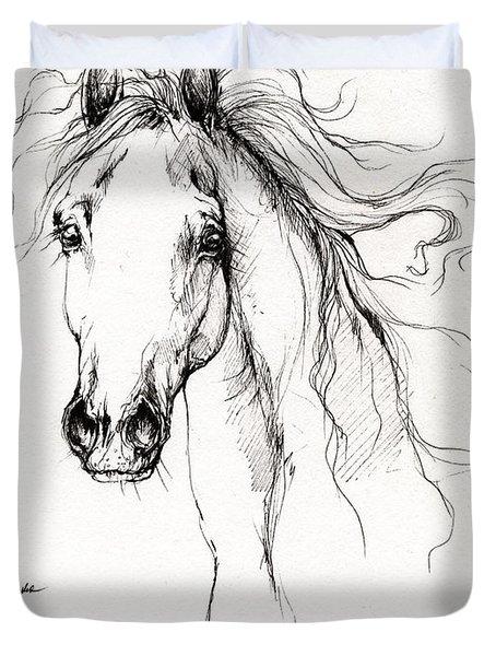 Arabian Horse Drawing 4 Duvet Cover by Angel  Tarantella