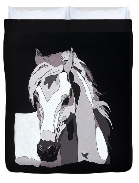 Arabian Horse With Hidden Picture Duvet Cover