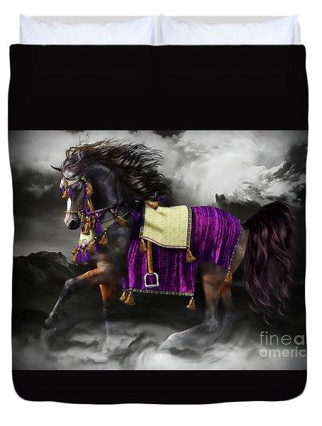 Arabian Horse  Shaitan Duvet Cover by Shanina Conway