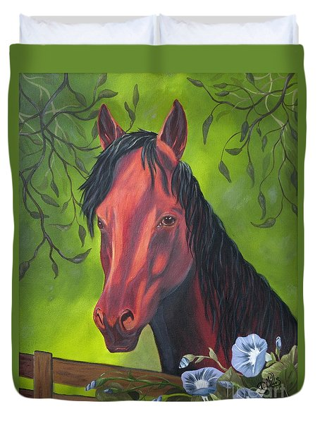 Duvet Cover featuring the painting Arabian Horse by Terri Mills