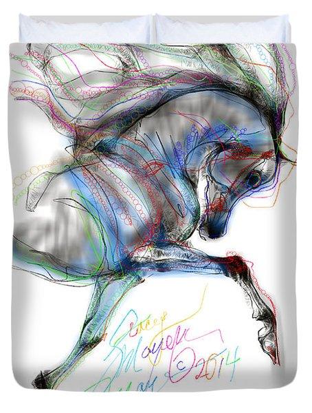 Arabian Horse Trotting In Air Duvet Cover