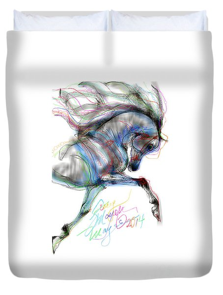 Duvet Cover featuring the digital art Arabian Horse Trotting In Air by Stacey Mayer