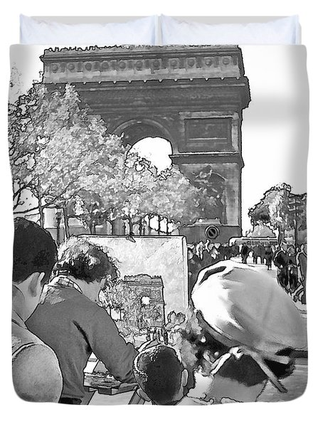 Arc De Triomphe Painter - B W Duvet Cover by Chuck Staley