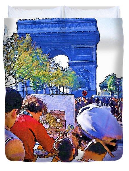 Arc De Triomphe Painter Duvet Cover by Chuck Staley