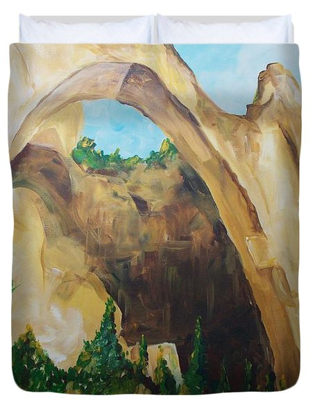 Duvet Cover featuring the painting Arch by Eric  Schiabor