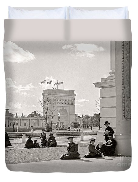Duvet Cover featuring the photograph Arch Of States Trans Mississippi 1898 by Martin Konopacki Restoration