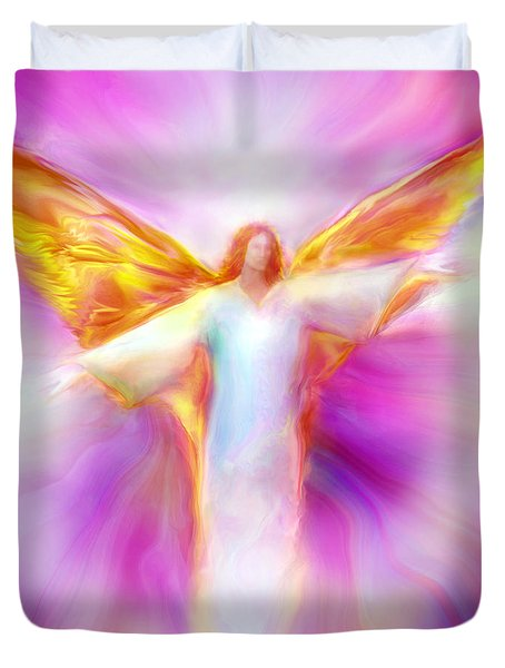 Archangel Sandalphon In Flight Duvet Cover
