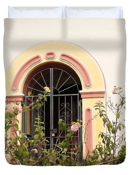 Duvet Cover featuring the photograph Arched And Gated by Art Block Collections