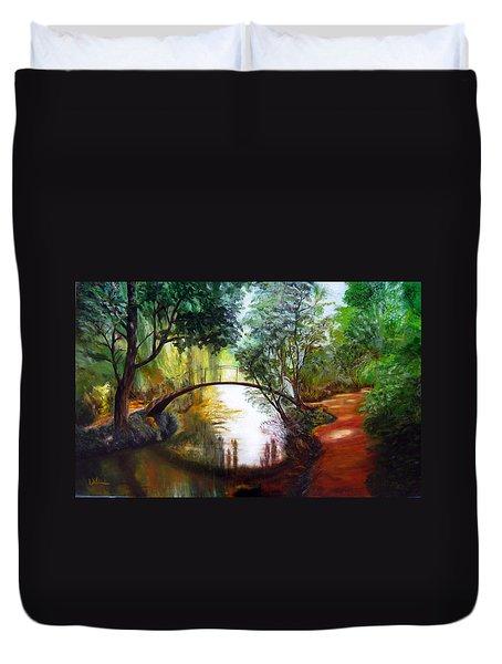 Arched Bridge Over Brilliant Waters Duvet Cover
