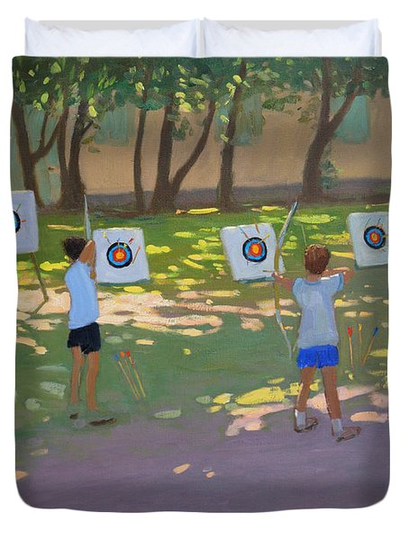 Archery Practice  France Duvet Cover by Andrew Macara