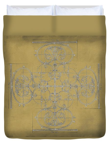 Duvet Cover featuring the photograph Sepia Maltese Cross Blueprint by Suzanne Powers