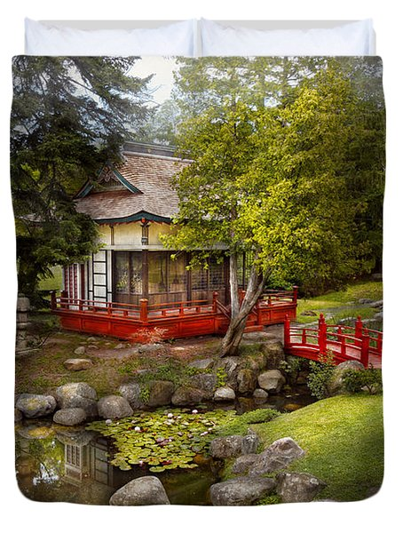 Architecture - Japan - Tranquil Moments  Duvet Cover by Mike Savad