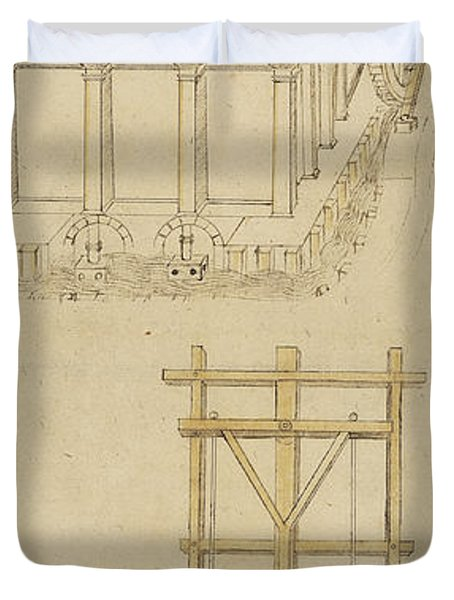 Architecture With Indoor Fountain From Atlantic Codex  Duvet Cover by Leonardo Da Vinci