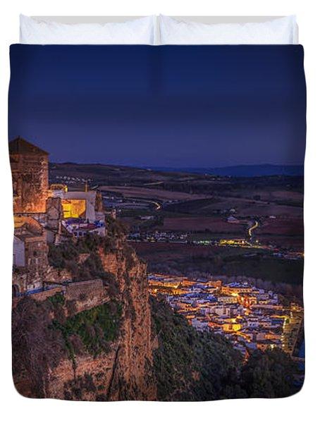 Arcos De La Frontera Panorama From Balcon De La Pena Cadiz Spain Duvet Cover