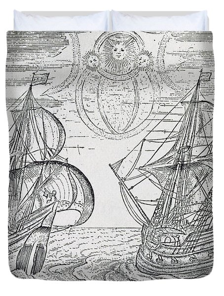 Arctic Phenomena From Gerrit De Veer S Description Of His Voyages Amsterdam 1600 Duvet Cover by Netherlandish School