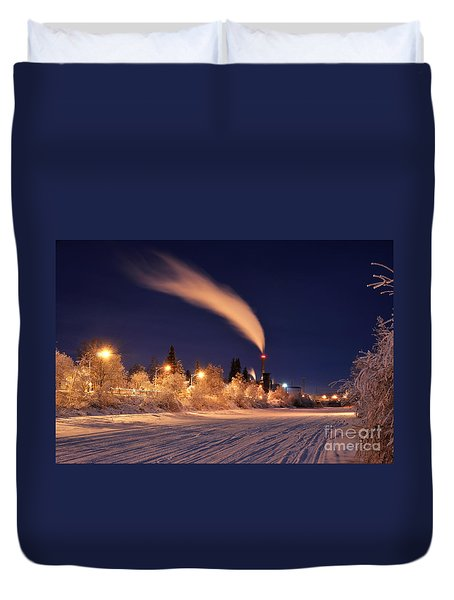 Arctic Power At Night Duvet Cover by Gary Whitton