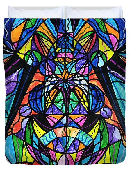 Arcturian Awakening Grid Duvet Cover by Teal Eye  Print Store