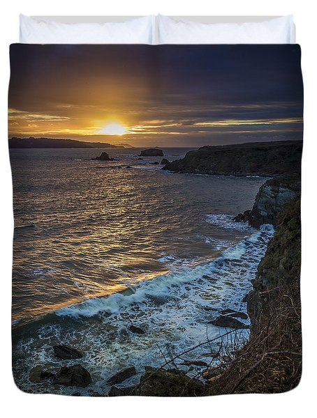 Ares Estuary Mouth Galicia Spain Duvet Cover by Pablo Avanzini