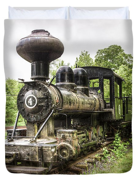 Duvet Cover featuring the photograph Argent Lumber Company Engine No. 4 - Antique Steam Locomotive by Gary Heller