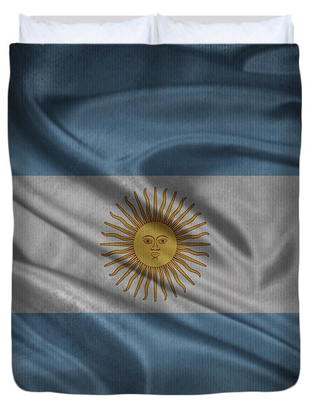 Argentinian Flag Waving On Canvas Duvet Cover by Eti Reid