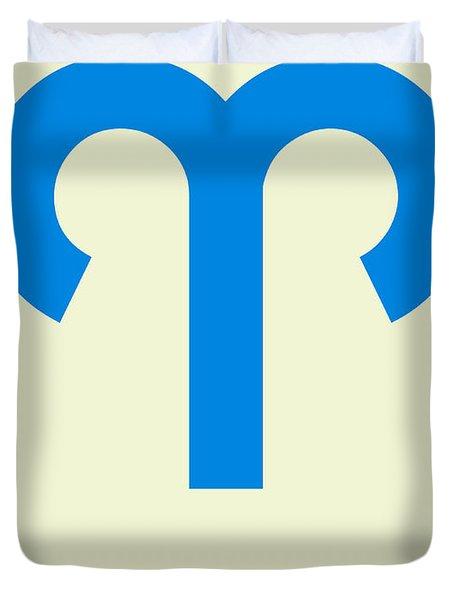 Aries Zodiac Sign Blue Duvet Cover