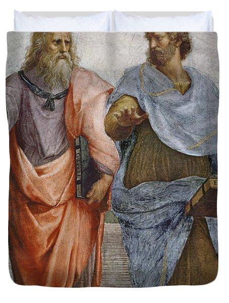 Aristotle And Plato Detail Of School Of Athens Duvet Cover by Raffaello Sanzio of Urbino