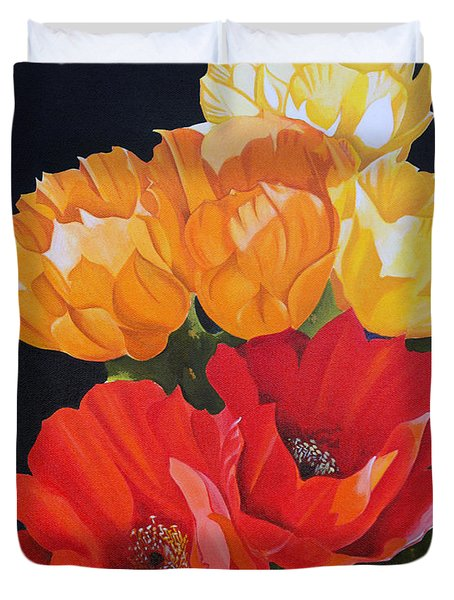 Duvet Cover featuring the painting Arizona Blossoms - Prickly Pear by Debbie Hart