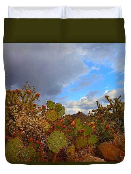 Arizona Cactus In Spring Duvet Cover