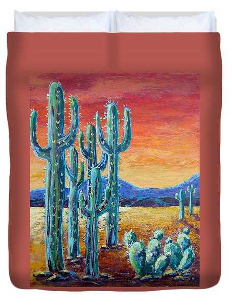 Duvet Cover featuring the painting Arizona Desert by Suzanne Theis
