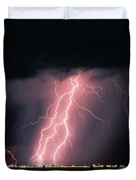 Arizona  Lightning Over City Lights Duvet Cover by Anonymous